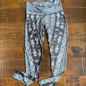 Grey tribal Teeki yoga leggings